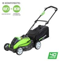 Газонокосилка аккумуляторная Greenworks G40LM45K6 40V 45 см c АКБ 6 А.ч и ЗУ